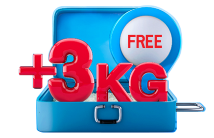 Purchase Excess Baggage From Web and Mobile Get Free +3 Kg