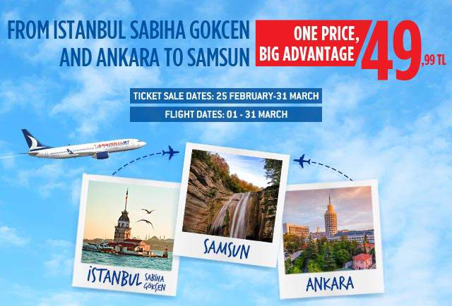 Single Price, Great Opportunity for Samsun Flights!